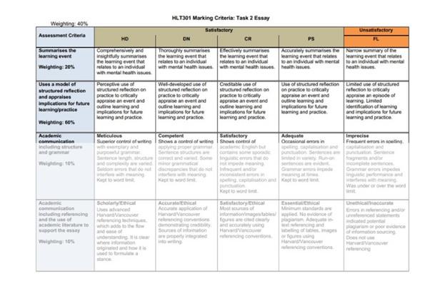 mental health nursing marking criteria