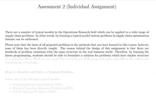 operations research assessment task