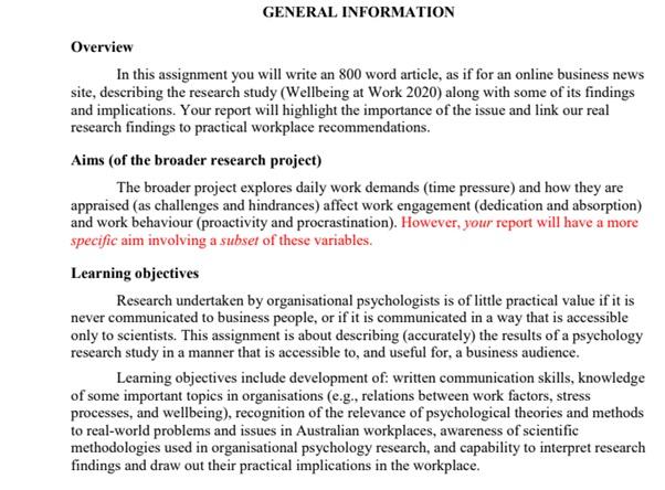 organisational psychology assignment help