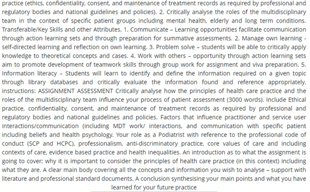 podiatry practice assignment sample