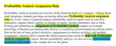 Profitability Analysis Assignment Help Online
