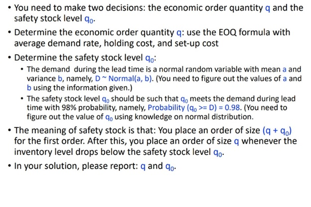 safety stock assessment answer