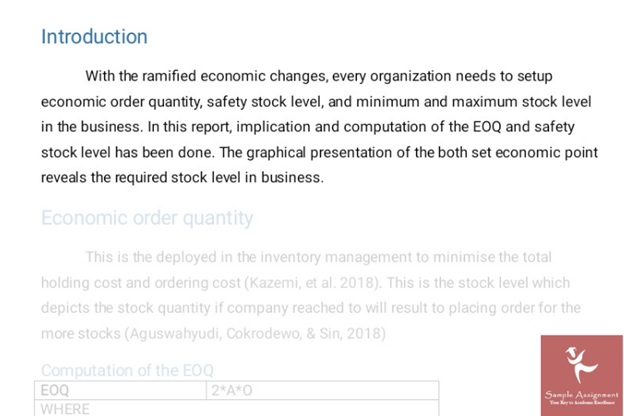 safety stock assignment sample