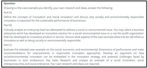 social innovation question sample