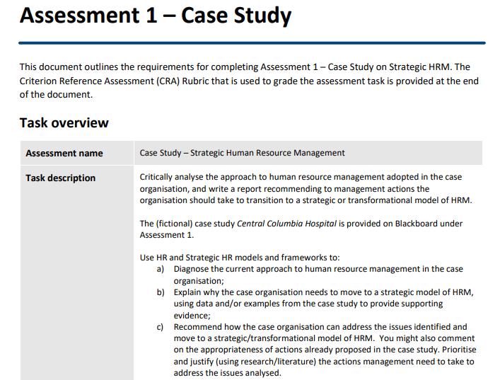 Strategic HRM Assignment Help