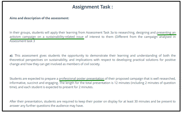sustainability assignment task online