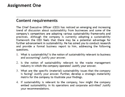 sustainability management assignment question