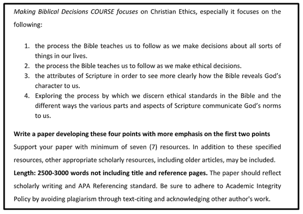 theology assignment sample online
