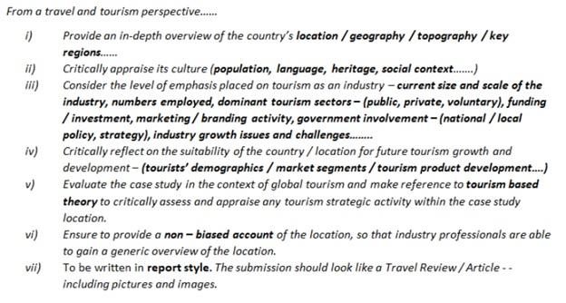 tourism project management assignment experts