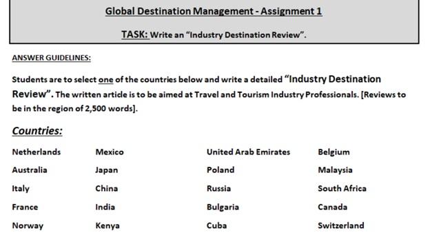tourism project management assignment