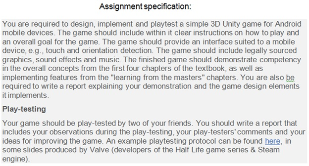 unity 3D assignment help