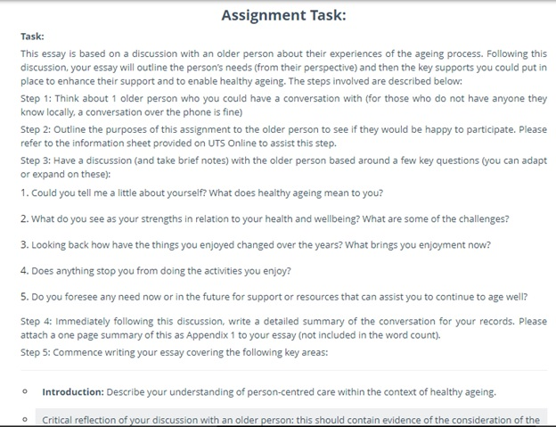 university of technology assignment question sample