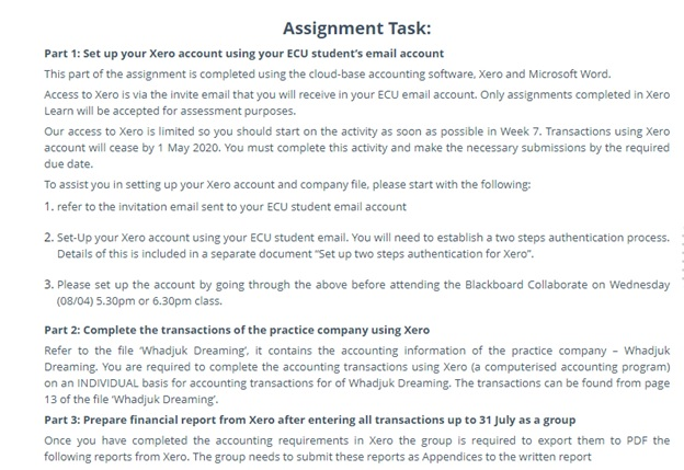xero assignment task help