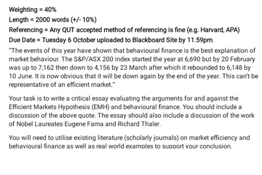 behavioral finance homework question sample