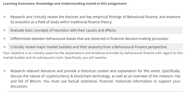 behavioral finance homework question