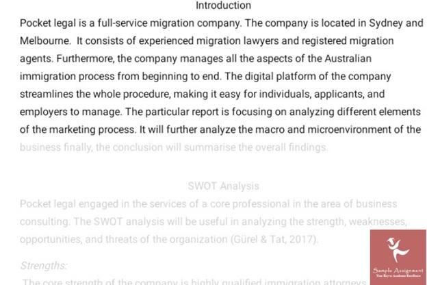 SWOT analysis assignment -sample