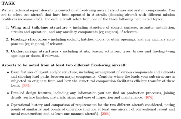 aeronautical engineering assignment question