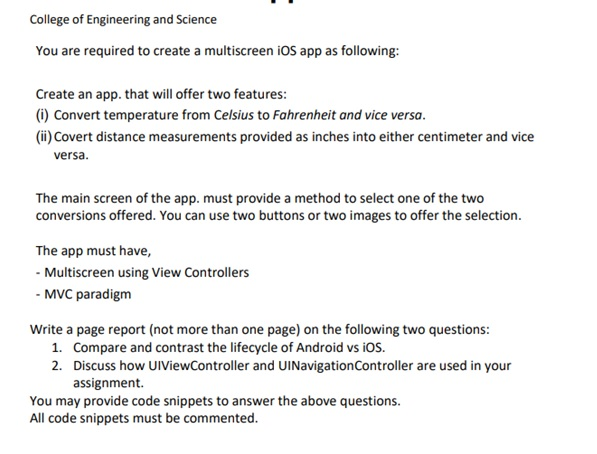 android app assignment question UK