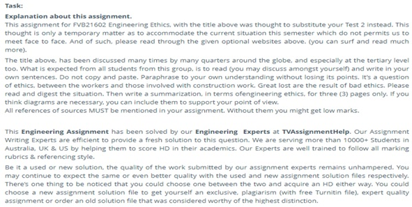 assignment question on engineering ethics