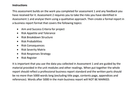 assignment question sample on risk management