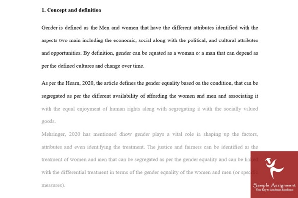 assignment sample on gender