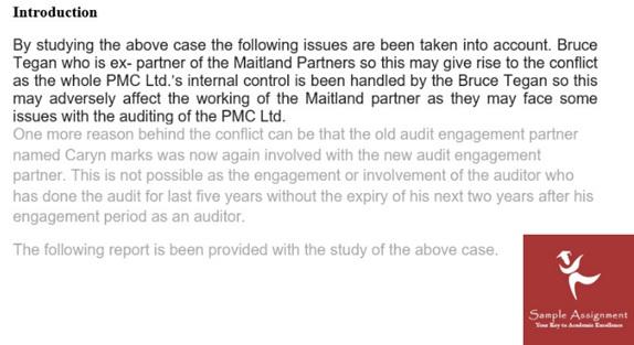auditing case study sample uk