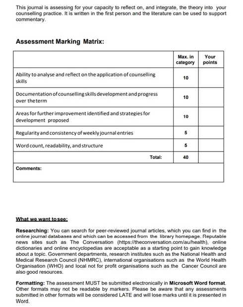 counselling practice assignment sample