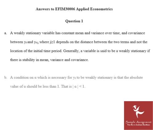 econometrics coursework question UK
