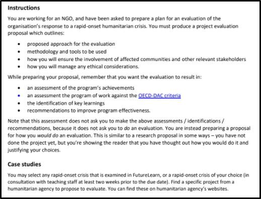 humanitarian health assignment sample