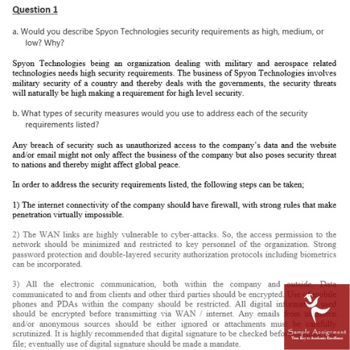 network security assignment question sample UK
