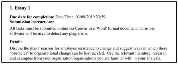 organisational change assignment question