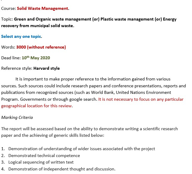 solid waste management assignment help