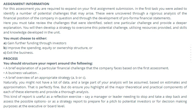 business valuation finance assignment question