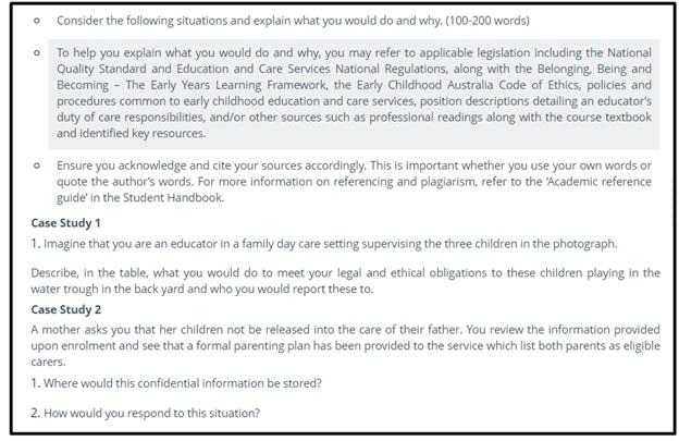 children behaviour assignment question sample