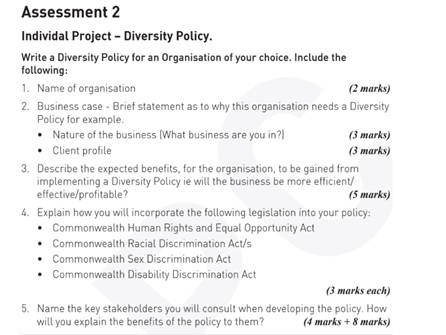 diversity management assignment question