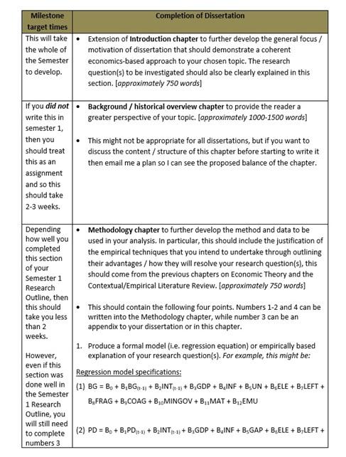 economics dissertation proposal question