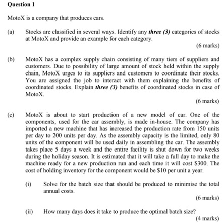 inventory control assignment question