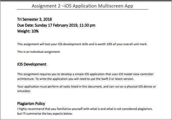 ios assignment question Australia