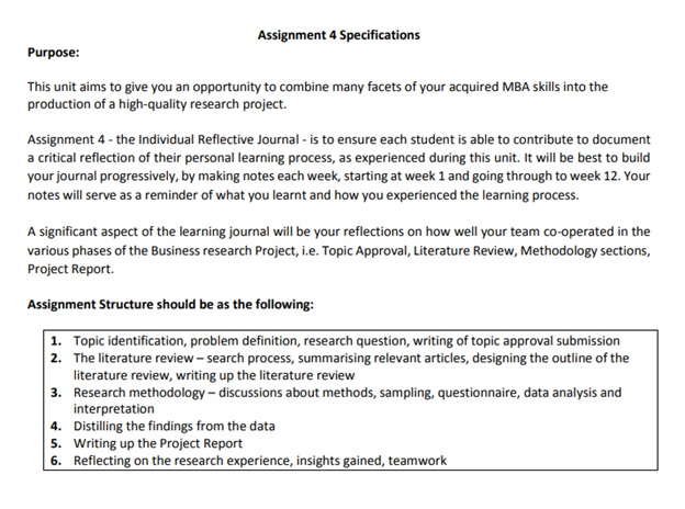 project research assignment question sample