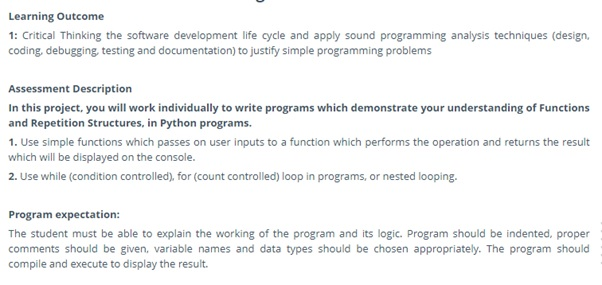 python programming assignment sample
