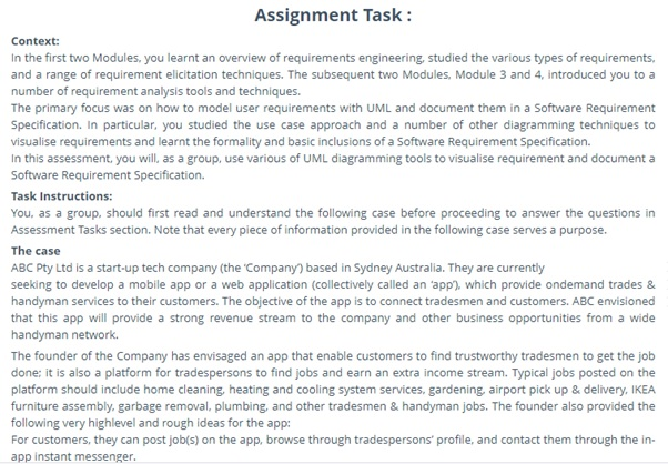 requirement engineering assignment task