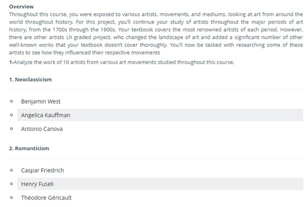 art history assignment question sample UK