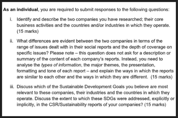 business society assignment question