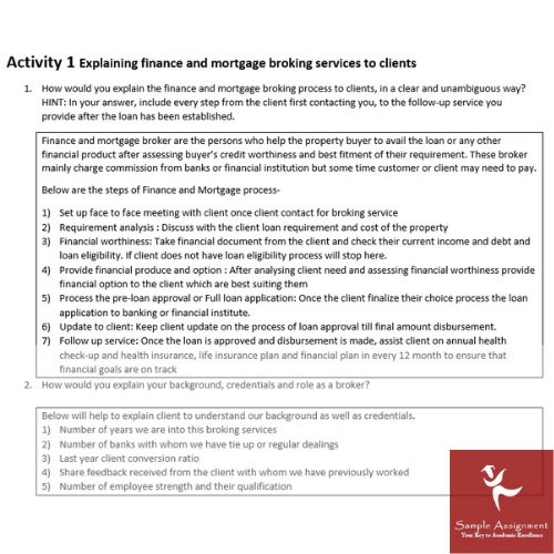 finance and mortgage broking assignment