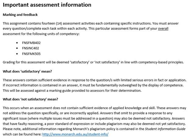 finance brooking assessment