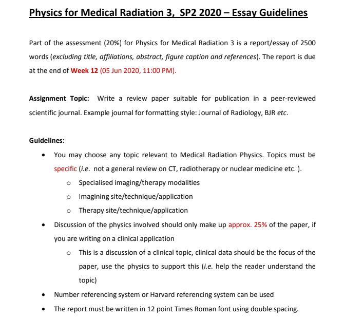 radiotherapist assignment sample
