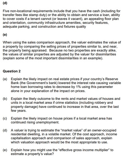 real estate assignment question sample uk