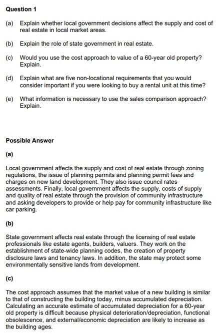 real estate assignment question UK