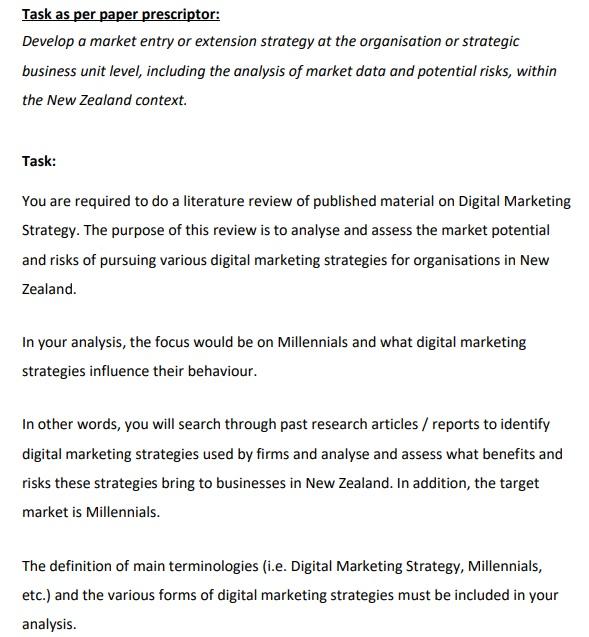 strategic marketing management assignment question