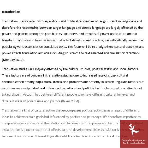 translation essay assignment sample